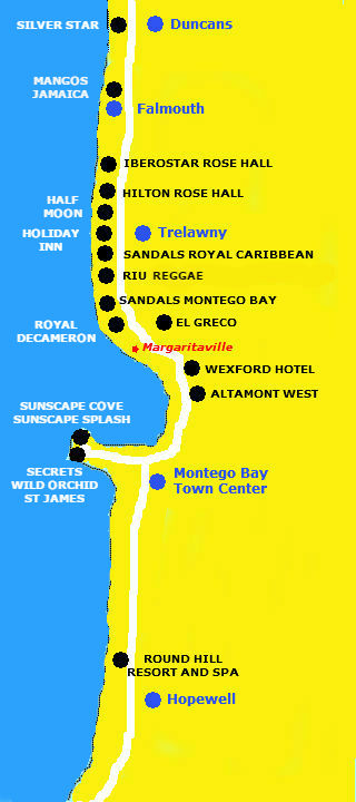Montego Bay Resort Location Map JAMAICA ONESTOP