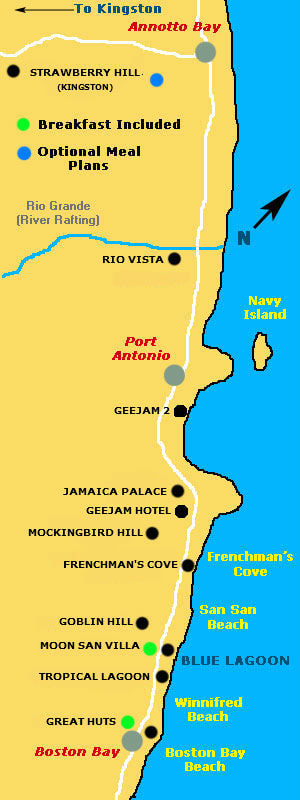 Port Antonio Resort Location Map JAMAICA ONESTOP