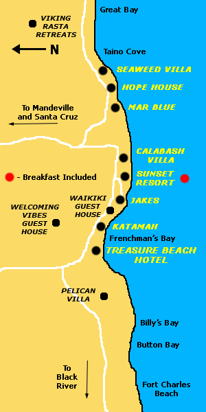 Treasure Beach Resort Location Map JAMAICA ONESTOP